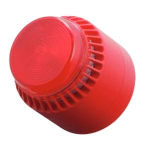 Cooper Fulleon Flashni Sounder Beacon Red Lens, Red Body & Shallow Base 640001MED-0314X